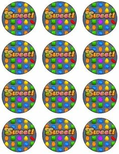 12 Candy iPhone Edible Cupcake Cup Cake Decoration Image Topper Birthday Set 2   eBay
