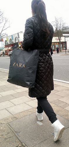 woman brunette walking zara bag Chiswick high road 12th March 2011 13:33pm