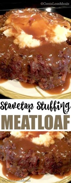 I've always loved my mom's traditional meatloaf made with onion and bread crumbs, topped with a ketchup chili sauce topping. But this Stovetop Stuffing Meatloaf recipe is my family's new favorite! recipe with stove top Stove Top Meatloaf Stove Top Stuffing Meatloaf, Best Meatloaf, Meatloaf With Gravy, Meatloaf With Stuffing Mix Recipe, Mom's Meatloaf Recipe, Meatloaf Sauce, Meatloaf Muffins, Herb Stuffing, Bon Appetit