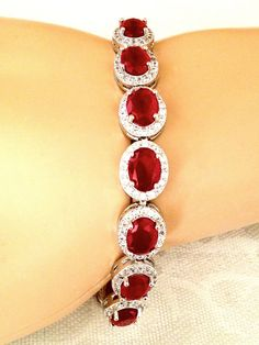 "BEAUTIFUL RUBY AND WHITE TOPAZ STERLING SILVER BRACELET 7"" LONG - 99 CARATS! #Handmade #Tennis"