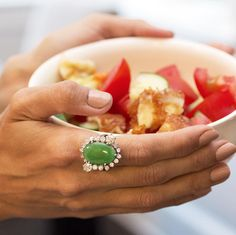 Still thinking about lunch. And this ring. Both were #delicious #salad tastes better with #diamonds #alwayswearjewels #style #ootd #luxe (ps - the obsession with @rgbcosmetics continues - love their custom Beautified color)