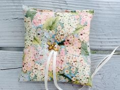 Floral Ring bearer Pillow-hydrangea by NauticalWeddings on Etsy