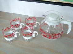 """Red White Randwyck Maastricht Coffee Set Coffee. The word """"coffee"""" is translated into different languages in the design, including finnish, french, spanish, etc. MindenShop"""