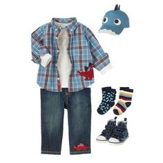 Prehistoric Preschool Pair our classic plaid shirt with dino embroidered pants for winning style. Always soft pocket tee and comfy sneakers, socks and cap finish the preppy casual look. Cute Baby Boy Outfits, Toddler Boy Outfits, Cute Outfits For Kids, Cute Kids, Toddler Boys, Ss15 Trends, Preppy Casual, Boy Fashion, Infant Clothing
