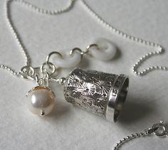 Silver Thimble Charm Necklace Milk White Antique Glass Buttons Statement Pendant