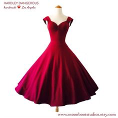 Ruby Red Wine ROCKABILLY Swing Dress, BURGUNDY Bridesmaid, Retro Capped Sleeves, Off the Shoulder 1950s style, Custom Colors