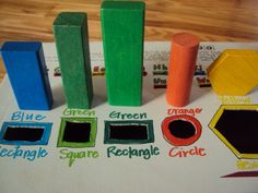 """A homemade """"drop box"""" - the next stage up from your basic shape sorter.  So many fun/learning possibilities!"""