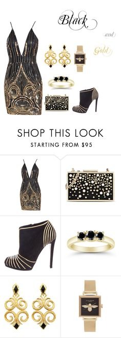 """Black and gold"" by anitacookiemonster129-1234 on Polyvore featuring Karl Lagerfeld, Sergio Rossi and Olivia Burton"