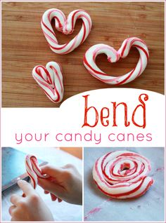 Bend Your Candy Canes. Fun time with the kids bending their Christmas candy canes. Noel Christmas, Christmas Goodies, Christmas Candy, Christmas Treats, Christmas Baking, Holiday Treats, Winter Christmas, All Things Christmas, Holiday Fun