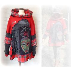 Punk Mask Tartan Tunic Jumper Upcycled Sweater Tribal Hoodie Red Black... ($141) ❤ liked on Polyvore featuring tops, sweaters, grey, pullovers, women's clothing, black sweater, black pullover sweater, button sweater, black button sweater and grey sweater