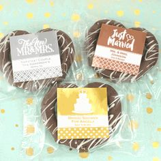 Find Metallic Foil Gourmet Chocolate Pretzel Favors with quantity discounts here, along with other wedding favors and shower gifts. Decadent Chocolate, Love Chocolate, Melting Chocolate, Baby Shower Favors Girl, Wedding Shower Favors, Bridal Shower, Chocolate Wedding Favors, Personalized Candy, Sweet And Salty
