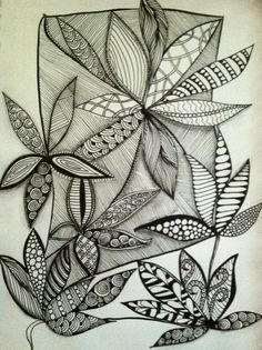 Zentangle - love the different patterns in each petal