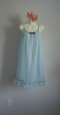 Vintage 1960s St. Michael Light Blue Short Chiffon Nightgown. on Etsy, $47.62 CAD