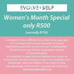 @EvolveSelf posted to Instagram: Women's Month Special!!  For the remainder of August I will be running a Women's Month Special: Get your CV redone at a discounted rate of only R500!   #special #promotions #cv #resume #womensmonth #evolveself #cv #resumehelp #resumedesign #bootcamp #moderncv #job #career #networking #newjob #work #hustle #business #financialfreedom #special #promotions #cv #resume #career #job #work #newjob #newCV #newresume Womens Month, Professional Cv, Resume Help, Job Career, Cover Letters, Job Work, Resume Design, It Network, Dream Job