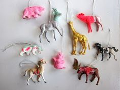 christmas decoration: plastic animals painted with Astrid