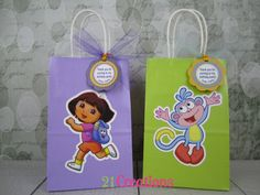 Dora the Explorer Favor Bags with Tags - set of 8