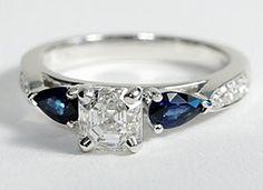 Pear Shape Sapphire and Pavé Diamond Engagement Ring in 14k White Gold #BlueNile