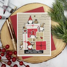 Christmas card featuring the brand new October 2020 Release Little Gnome Agenda Stamps and Dies and the Colorblock Gifts Stamp Set. The previously released Little Santa Agenda and Santa Baby stamp sets were used with the new products for this fun and festive gnome card! Mama Elephant Stamps, Snow Much Fun, Winter Cards, Cardmaking, Christmas Cards, Merry, Blog, Paper Crafts, October