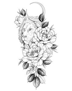 Tattoo Femeninos, Leo Tattoos, Mini Tattoos, Animal Tattoos, Cute Tattoos, Body Art Tattoos, Sleeve Tattoos, Tattoo Moon, Rosen Tattoo Arm