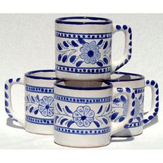 Clay Blue/White Coffee Mugs by Le Souk