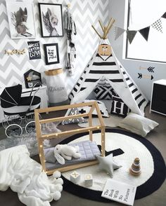 17 Super Cute Nursery and Playroom Ideas Modern Black and White Playroom Idea for Toddlers Baby Bedroom, Baby Boy Rooms, Nursery Room, Kids Bedroom, Teepee Nursery, Trendy Bedroom, Modern Bedroom, Baby Decor, Kids Decor