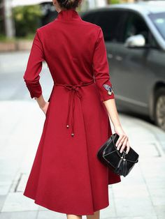 Burgundy 3/4 Sleeve Embroidered Midi Dress