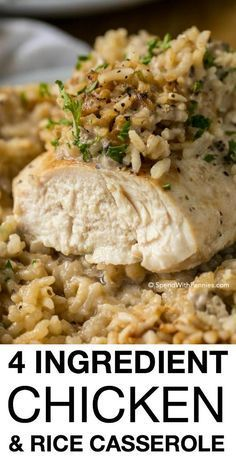 Chicken Rice Casserole makes for a crowd-pleasing dinner that comes together in under 5 minutes of prep time. Made with only 4 ingredients, this meal packs a lot of flavor in a filling one dish dinner that everyone will love!