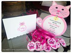 Kitten Cat Party Invitation Invitations by by palmbeachpolkadots