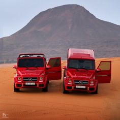 For #AdayintheMBLife we will follow @r2ed001 around today who is in the desert in Saudi Arabia with his two amazing paprika red G 63 AMG!