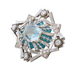 Aquamarine, diamond and enamel brooch, 1925
