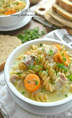 This creamy, home-style chicken noodle soup is guaranteed to cure anything! Chock-full of veggies, chicken and noodles in a rich broth; it goes perfectly with fresh bread for Sunday dinner.