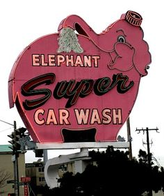 'Elephant Super Car Wash' Neon Sign: Seattle, Washington