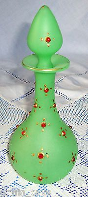 ANTIQUE-OPALINE-URANIUM-GLASS-Jeweled-Scent-Bottle-Ottoman-Palace-Turkish