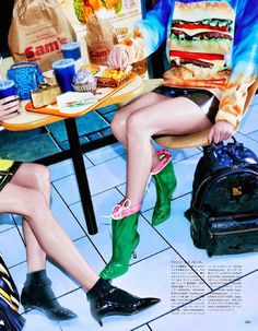 """Fast Food and the Fabulous"": Abi Penhale & Eva Sulejka by Sebastian Mader for Vogue Japan December 2014"