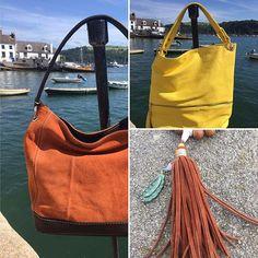 Morning Monday! The sun is shining so definitely a day for a bright citrus bag!! #orangesandlemons #suede #handbag #shoppingtime #musthave #danielli #dartmouth #boutique #riverdart @bythedart