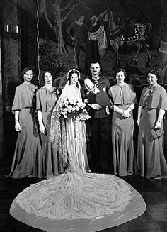 Denmark Princess Alexandrine  Princess Alexandrine Louise youngest daughter of Prince Harald, brother of King Christian, was married in the castle church at Copenhagen, to Count Luitpold Zu Castello Castell, son of Count Otto and Countess Ameli Zu Castell-Castell. The bride and bridegroom with the bridesmaids after the wedding in the Castle Church, Copenhagen, on Jan. 22, 1937. (AP Photo)
