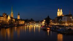 Old Town and Limmat river, Zurich, Switzerland. Old Town, Switzerland, Cathedral, River, Night, Old City, Cathedrals, Rivers