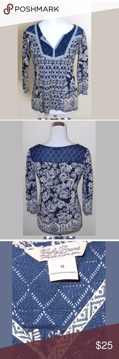"""Lucky Brand Navy Blue and Beige Floral Top. Size M Lucky Brand Navy Blue and Beige Floral Top. Women's size Medium. 60% Cotton, 40% Modal. Measures: 21"""" pit to pit and 25"""" length. Lucky Brand Tops Blouses"""