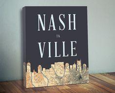 Nashville Skyline Map Canvas Print - Nashville TN Map Art - Nashville City Silhouette