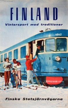 'Thank you for the ride', commercials for the annual winter sale of journeys by the Finnish national railway company in the Lappland, Poster Ads, Poster Prints, Vintage Advertisements, Vintage Ads, Vintage Ski Posters, Vintage Banner, Finland Travel, Train Art