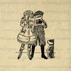 Boy and Girl Reading Book with Dog Image Digital Download Printable Graphic Vintage Clip Art. Digital graphic from vintage artwork for transfers, making prints, t-shirts, pillows, tote bags, and more. For personal or commercial use. This digital image is high quality at 8½ x 11 inches large. A Transparent background png version is included.