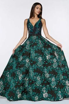 Floral Ball Gown Long Prom Dress | Dress Outlet – The Dress Outlet