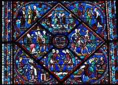 Cathédrale Notre-Dame de Chartres - Third section of the Joseph Window (showing his brothers in Egypt, requesting food)