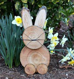 Simple DIY rustic wooden bunny - creative Easter decor // Nyuszi farönkből - kreatív húsvéti kerti dekoráció // Mindy - craft tutorial collection // #crafts #DIY #craftTutorial #tutorial #easter #easterCrafts #DIYEaster