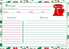 5x7 recipe card template for word