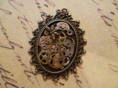 Steampunk jewellery oval pendant by PiratesofPendants on Etsy, £15.99