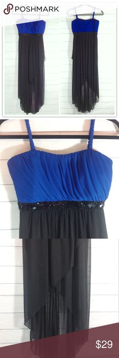 """Enfocus Studio Stunning High Low Maxi Size 6 Like new! Gorgeous black & cobalt blue Greek goddess style maxi dress. Empire waist with band of sequins under bust. Lined to just above knee and sheer high-low waterfall effect to fullest length. Size 6.  Bust 16"""" across flat. Longest length 52"""".  Length to hem of lining 37"""".  🔹Please ask all questions before you purchase! I'm happy to help! 🔹No trades or holds, but I happily consider offers via the Offer Button! 🔹Bundle for best prices. Use…"""