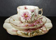 RARE ANTIQUE 1884 GEORGE JONES SON CRESCENT CHINA TRIO TEA CUP SAUCER SIDE PLATE