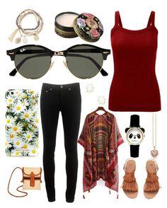"""Red Kimono"" by mdavenport ❤ liked on Polyvore featuring rag & bone, TLC&you, Ray-Ban, Kate Spade, Thomas Sabo, Kendra Scott, DesignSix, Anna Sui and kimonos"