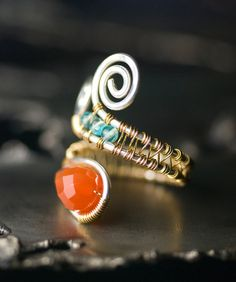 Red Agate Ring Silver Gold Gemstone Argentium by mossandmist
